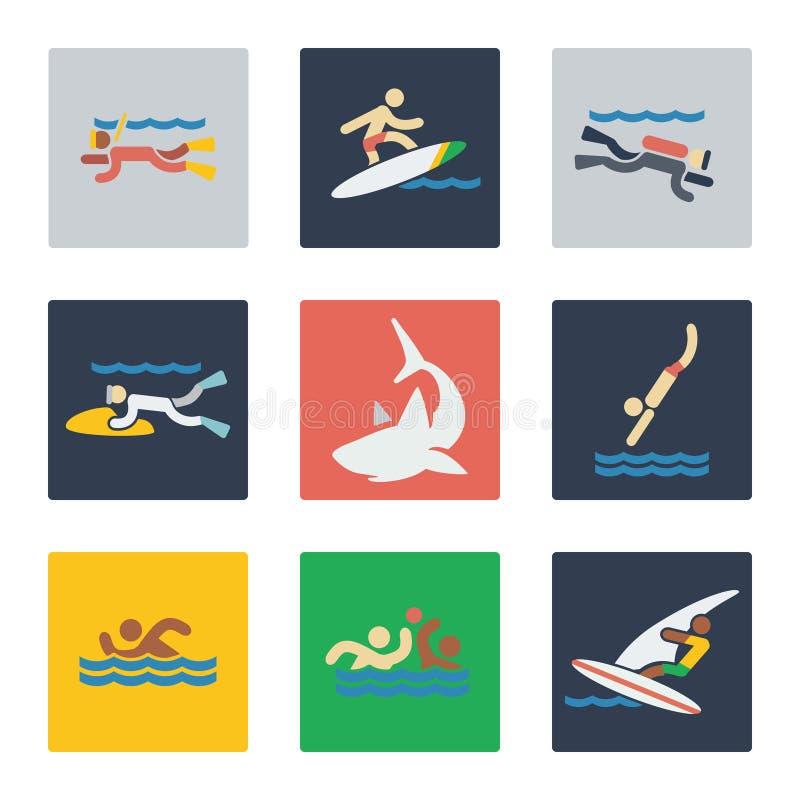 Havssportar sänker symboler vektor illustrationer