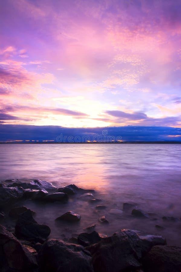 havssundown arkivfoton