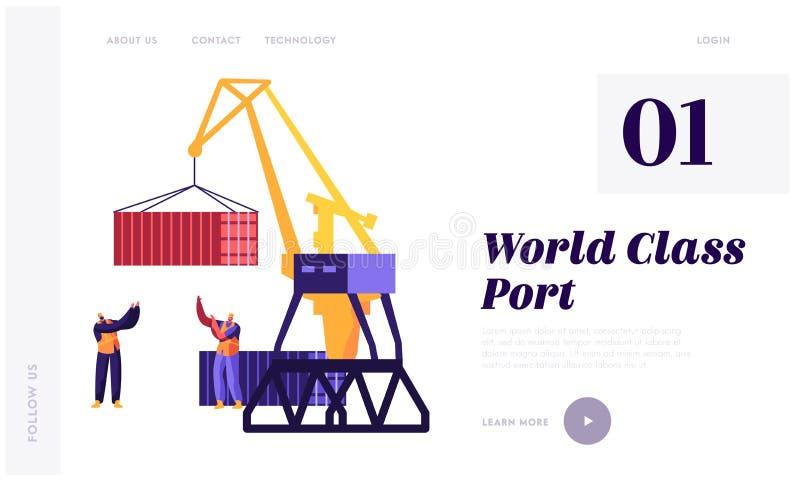 Havstrans. och logistisk infographics Hamnstadhamnelevator Crane Loading Container och process f?r kontroll f?r arbetare f?r havs royaltyfri illustrationer