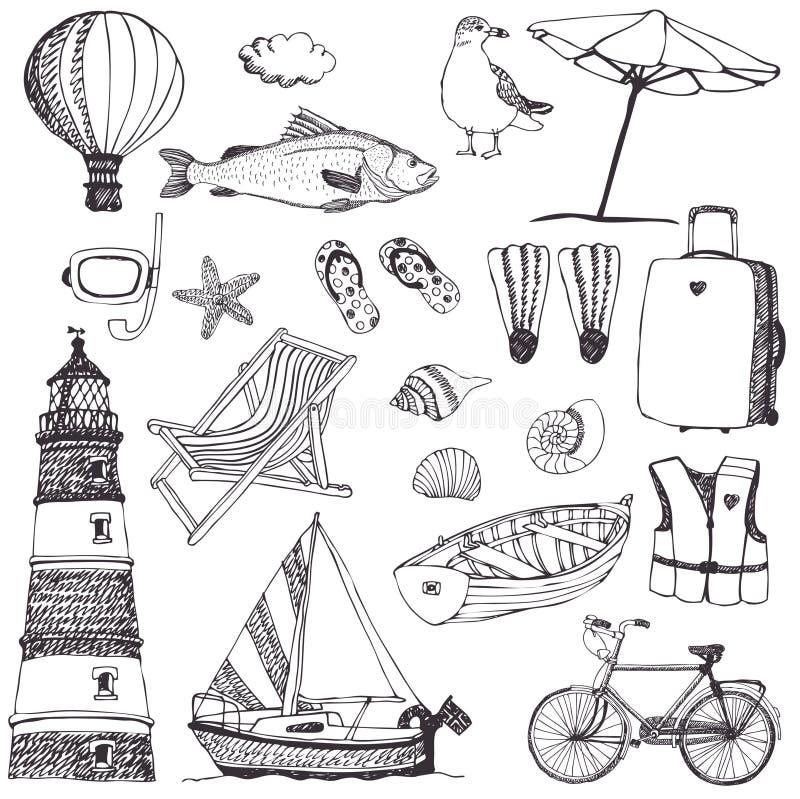 Havsuppsättning stock illustrationer