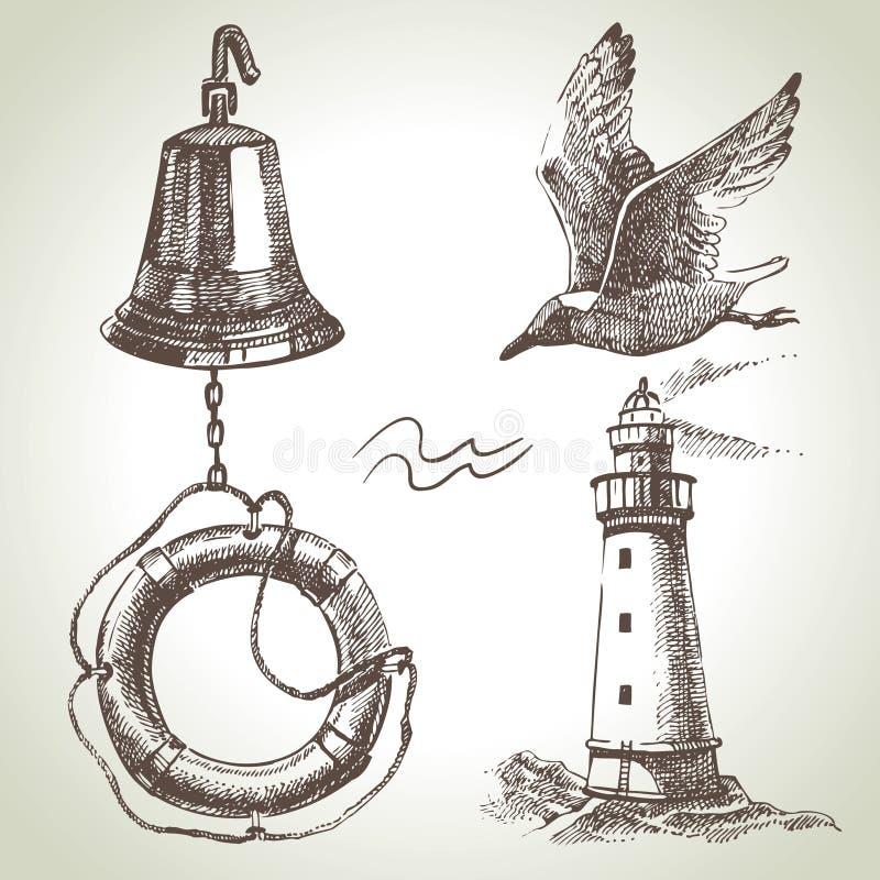 Havsuppsättning av nautiska designbeståndsdelar vektor illustrationer