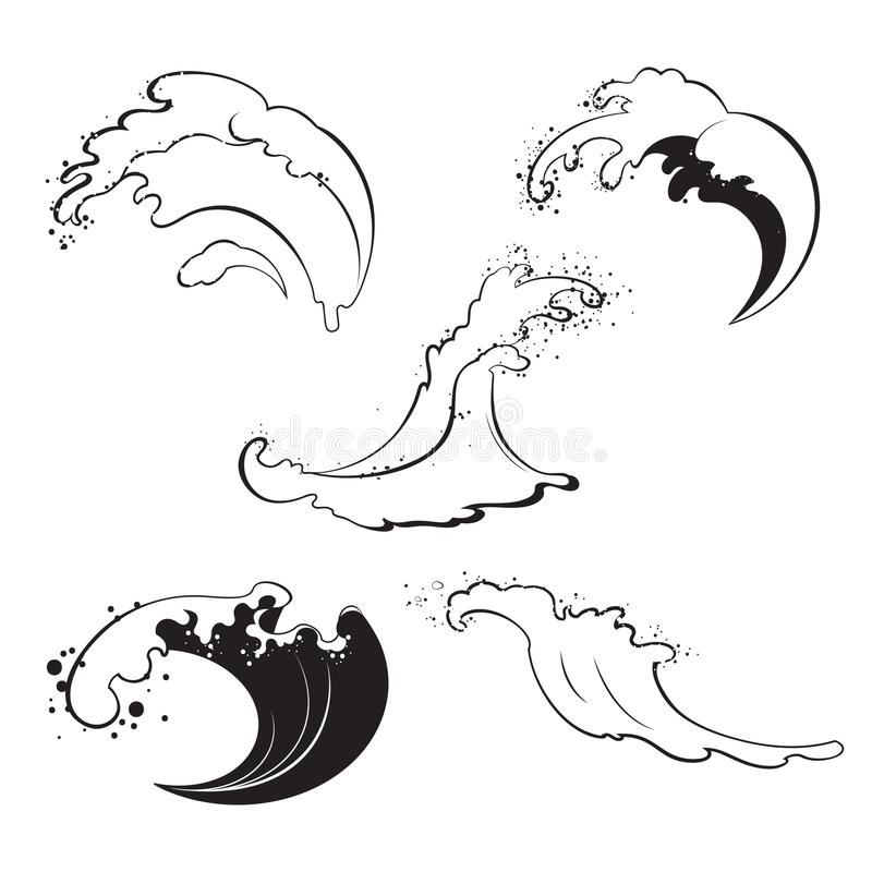 Havsvågor av olika former på vit bakgrund vektor illustrationer
