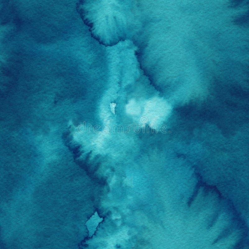 Havsvågor, sömlös bakgrund Abstrakt vattenfärgdesign royaltyfri bild