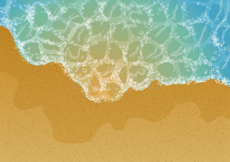 Havsvågor skummar på den sandiga stranden för sommar tropiskt kusthav stock illustrationer