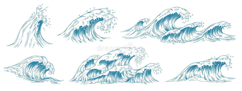 Havsv?gor skissar Stormvågen, tappningtidvatten och havstrandstormar räcker den utdragna vektorillustrationuppsättningen royaltyfri illustrationer