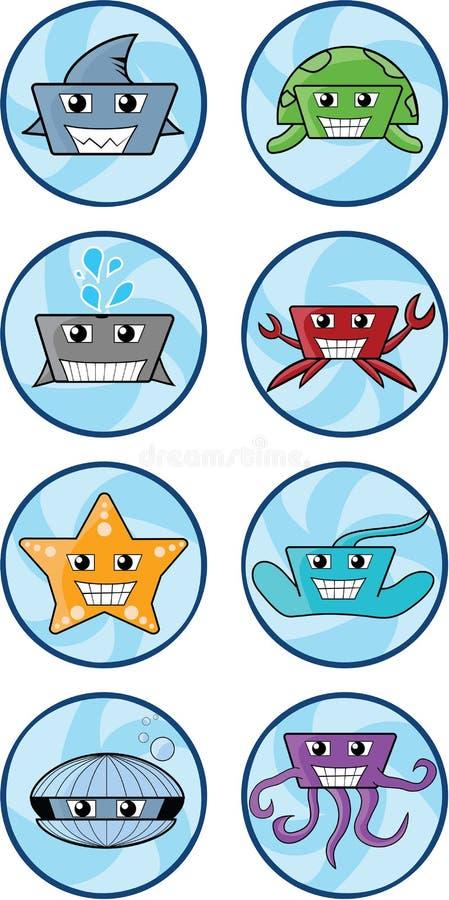 Havsvarelseillustrationer royaltyfri illustrationer