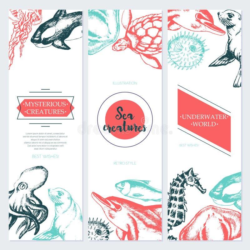 Havsvarelser - färg dragit mallbaner royaltyfri illustrationer