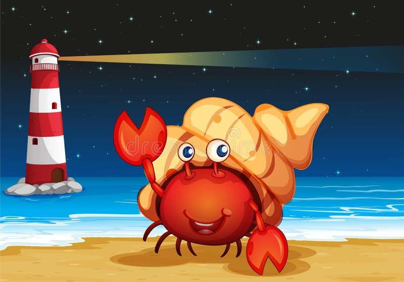Havsvarelser på stranden med en fyr stock illustrationer