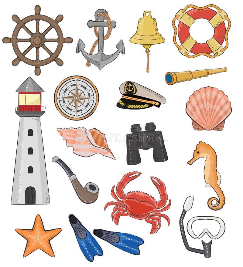 Havsvektorflottan eller nautiska symboler fyr och skepp rullar eller den maritima uppsättningen för segelbåtankar- eller livbojil royaltyfri illustrationer