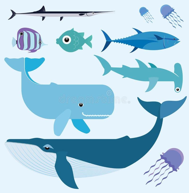 Havsvektoruppsättning stock illustrationer