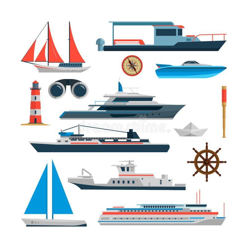 Havsvektoruppsättning av skepp, fartyg och yachten som isoleras på vit bakgrund Designbeståndsdelar för marin- transport, symbole vektor illustrationer
