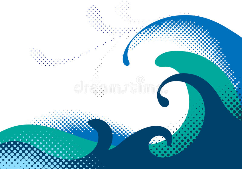 havswaves royaltyfri illustrationer