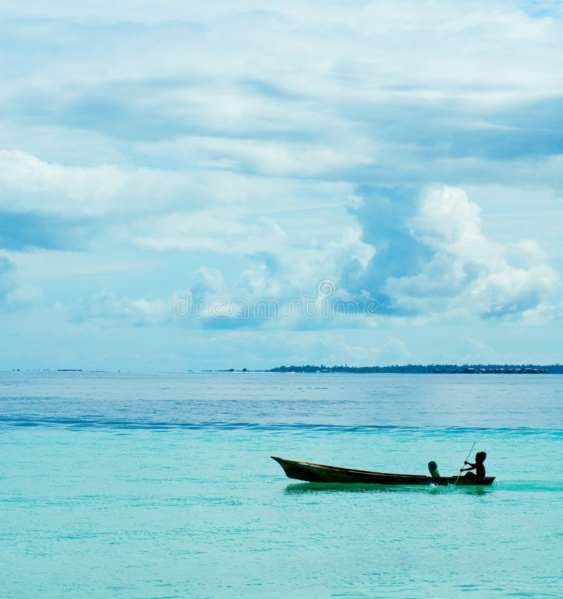 Havszigenarebarn som kayaking arkivbild