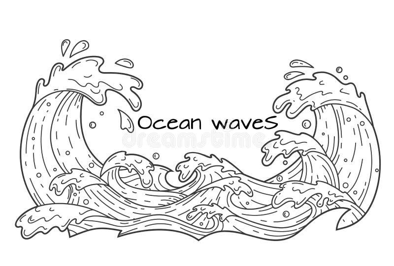 Havvågor, översiktsillustration royaltyfri illustrationer