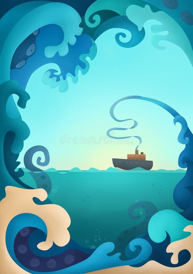 Havvågor och undervattens- varelseKraken illustration royaltyfri illustrationer