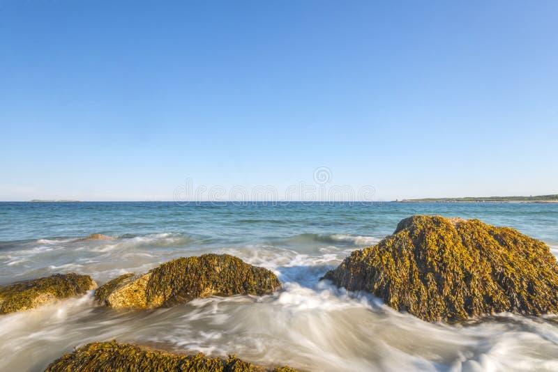 Havvågor piskar linjen inverkan vaggar på stranden arkivbilder