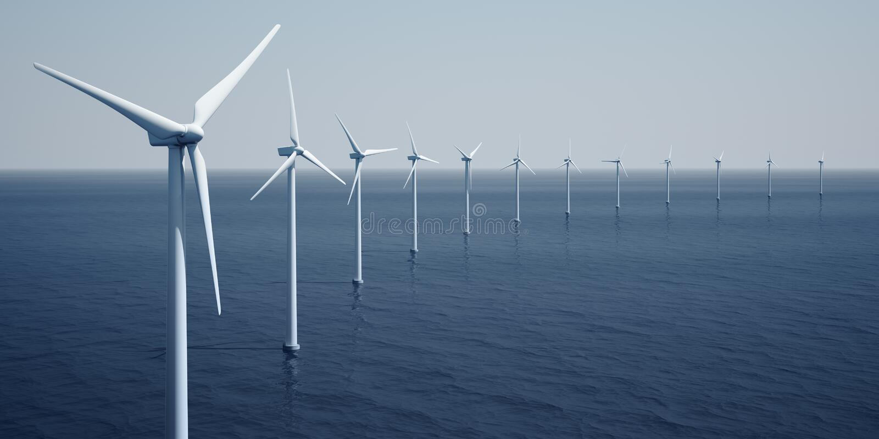 havwindturbines vektor illustrationer
