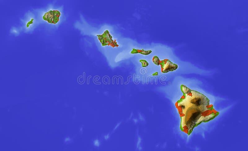 Hawaï, carte d'allégement ombragée illustration stock