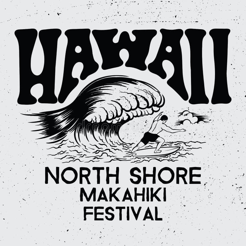 Hawaï, festival du nord de Makahiki de rivage illustration de vecteur