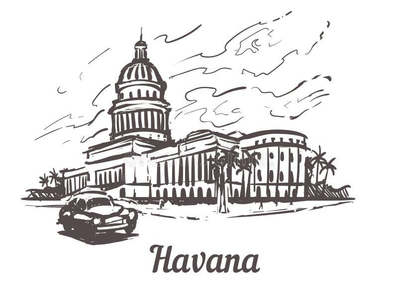 Hawańska ręka rysująca nakreślenie wektoru ilustracja Capitol Hawański, odosobniony na białym tle ilustracja wektor