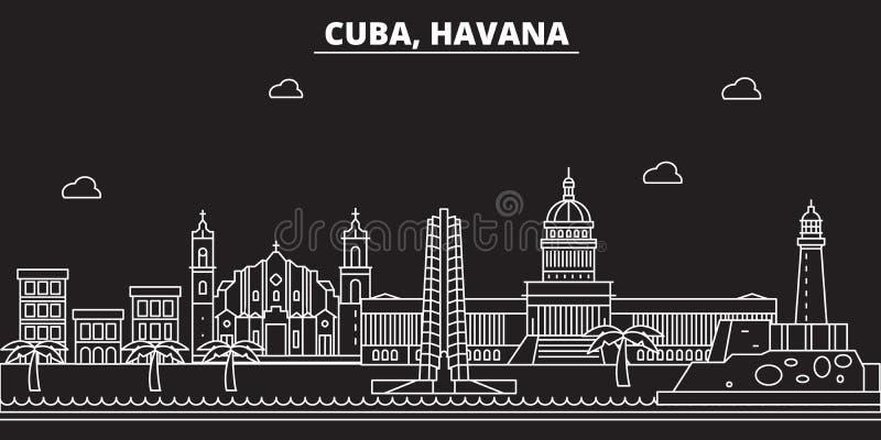 Hawańska sylwetki linia horyzontu Kuba - Hawański wektorowy miasto, kubańska liniowa architektura, budynki Hawańska podróży ilust ilustracja wektor