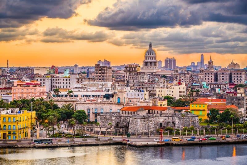 Hawański, Kuba śródmieścia linia horyzontu zdjęcie royalty free