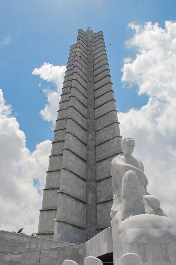 Hawański, Kuba: Ikonowy Jose Marti pomnik przy rewolucja kwadratem zdjęcia stock