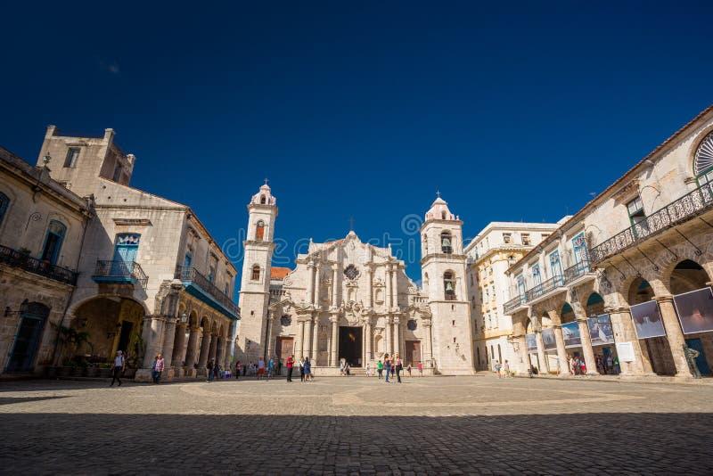 Hawański, Kuba - 29 2017 Listopad catedral De Los angeles Plac obrazy royalty free
