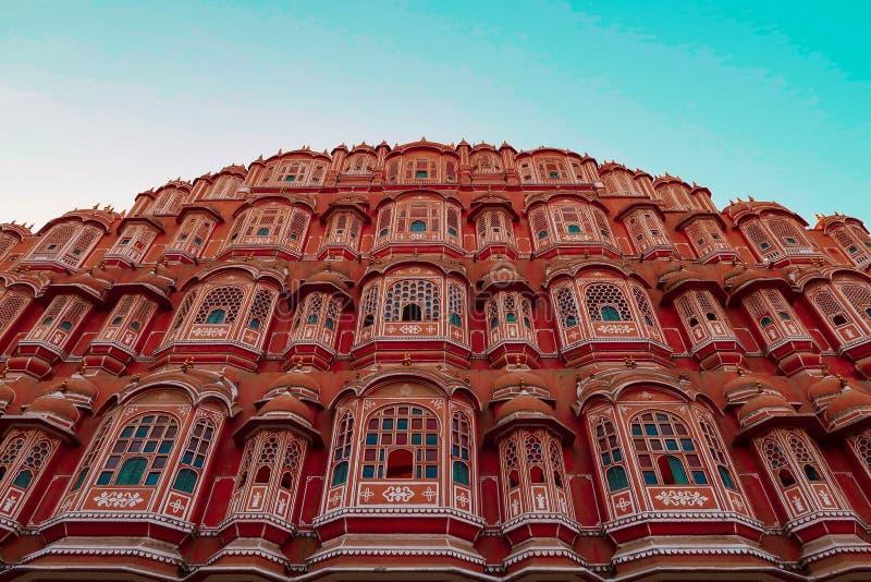Hawa Mahal in de Stad van Jaipur, Rajasthan India stock afbeeldingen