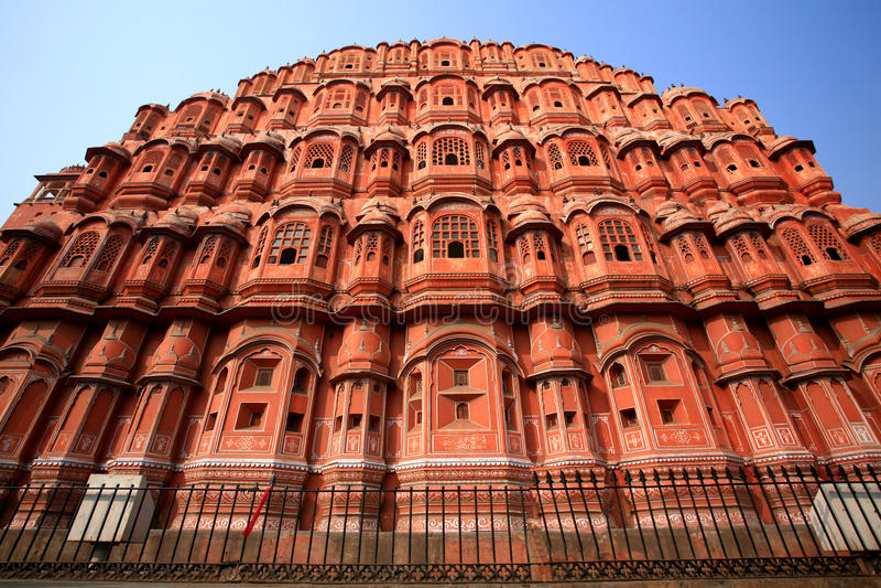 Hawa Mahal, het Paleis van Winden, Jaipur, Rajasthan royalty-vrije stock foto's