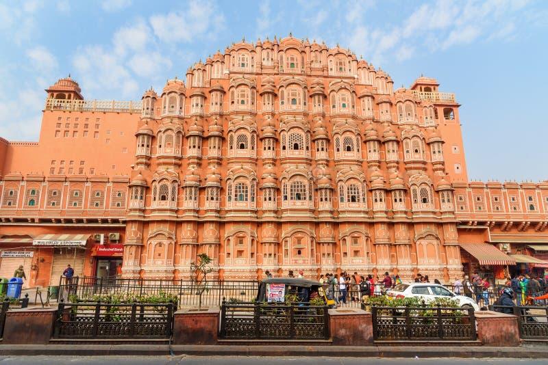 Hawa Mahal-het paleis is Paleis van Winden in Jaipur Rajasthan India stock afbeelding