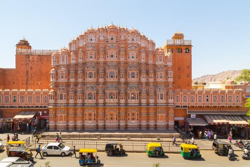 Hawa Mahal in Jaipur in de loop van de dag stock afbeeldingen