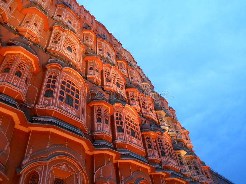Hawa Mahal, Jaipur na deszczowym dniu fotografia stock