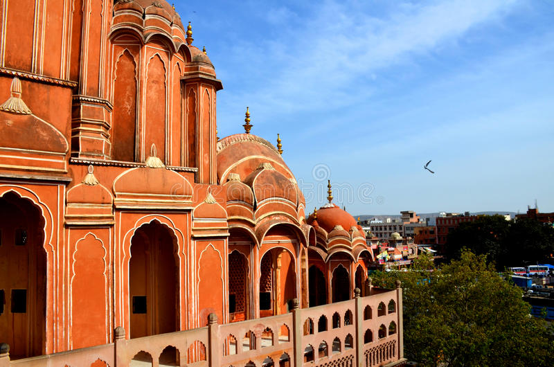 Hawa Mahal Jaipur. Hawa Mahal is a palace in Jaipur, India, so named because it was essentially a high screen wall built so the women of the royal household royalty free stock photos