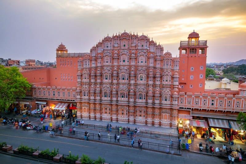 Hawa Mahal na noite, Jaipur, Rajasthan, Índia fotografia de stock royalty free