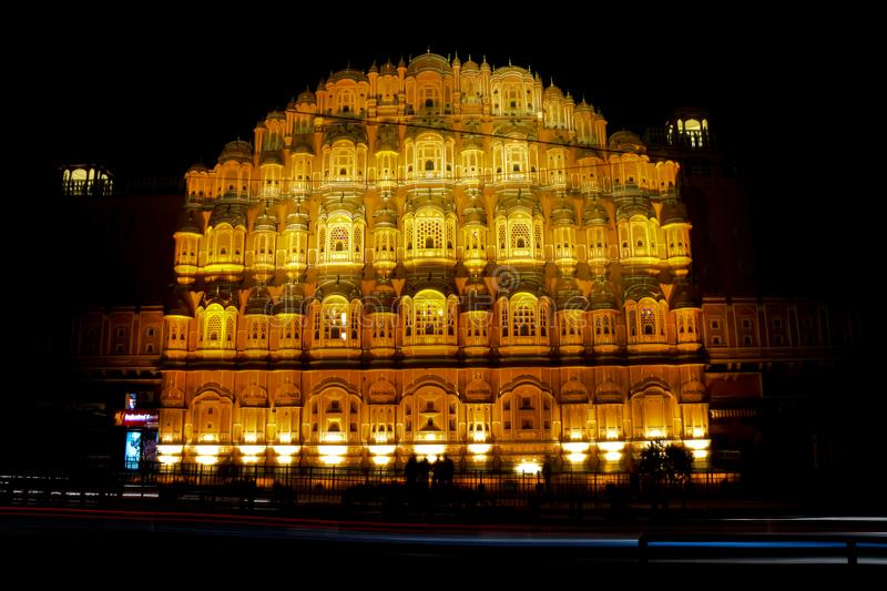 Hawa Mahal at Night. This one is from my trip to Jaipur with my friend, where we stood for about 30 mins to click this picture stock photo