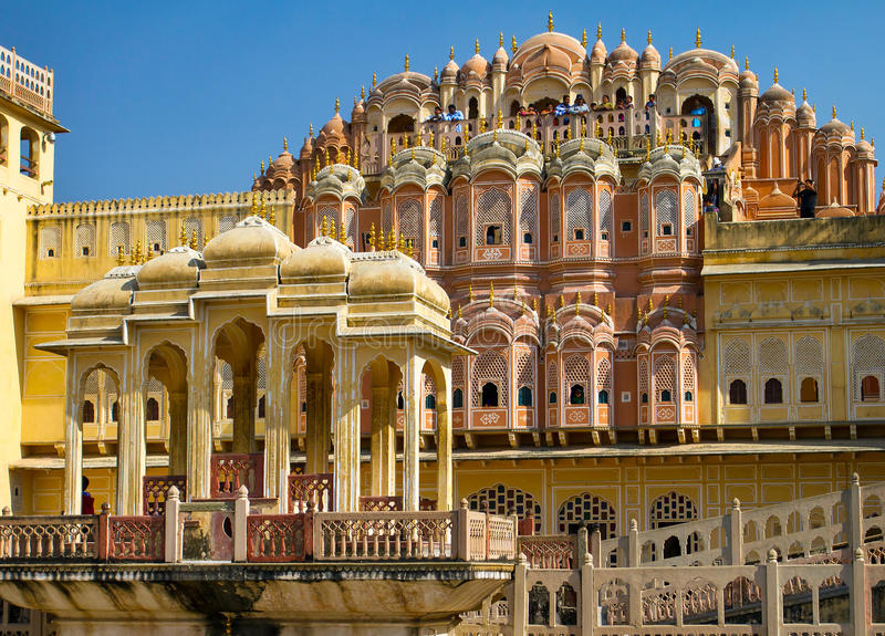 Hawa Mahal palace (Palace of the Winds). Famous Rajasthan landmark - Hawa Mahal palace (Palace of the Winds), Jaipur, Rajasthan stock photo