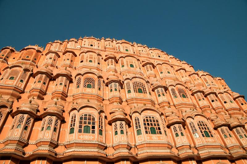 Hawa Mahal - Palace of winds. Is one of India s most famous buildings. It was built in 1799 in Jaipur, India The royal ladies used to view everyday life in stock photos