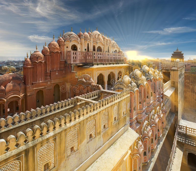Hawa Mahal, the Palace of Winds, Jaipur, Rajasthan, India. Hawa Mahal Palace of Winds the main tourist attraction of Jaipur, and one of the most famous monuments stock photos