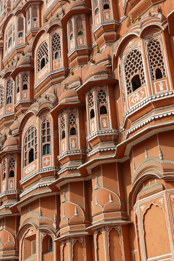Hawa Mahal or Palace of winds, in Jaipur. Windows of Hawa Mahal or Palace of winds, in Jaipur stock photography