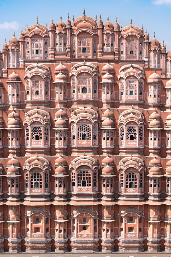 Hawa Mahal - paleis in Jaipur stock afbeeldingen