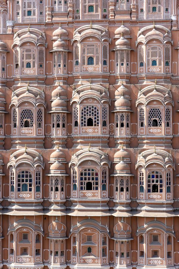 Hawa Mahal, pink palace of winds in old city Jaipur, Rajasthan, India. Background of indian architecture, close up royalty free stock photo