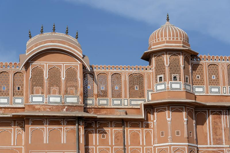 Hawa Mahal, pink palace of winds in old city Jaipur, Rajasthan, India. Background of indian architecture, close up royalty free stock images