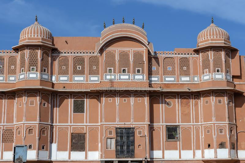 Hawa Mahal, pink palace of winds in old city Jaipur, Rajasthan, India. Background of indian architecture, close up royalty free stock image