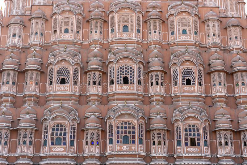 Hawa Mahal, pink palace of winds in old city Jaipur, Rajasthan, India. Background of indian architecture, close up royalty free stock photography