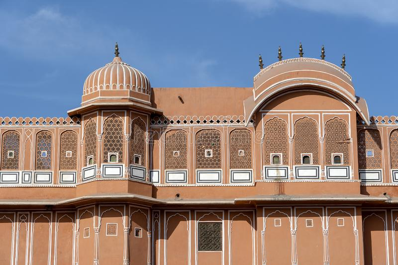 Hawa Mahal, pink palace of winds in old city Jaipur, Rajasthan, India. Background of indian architecture, close up stock photography
