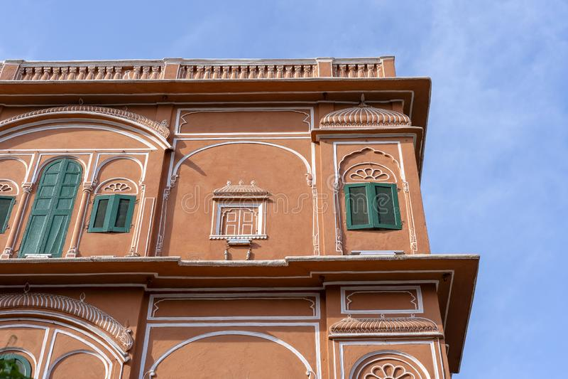 Hawa Mahal, pink palace of winds in old city Jaipur, Rajasthan, India. Background of indian architecture, close up stock photos