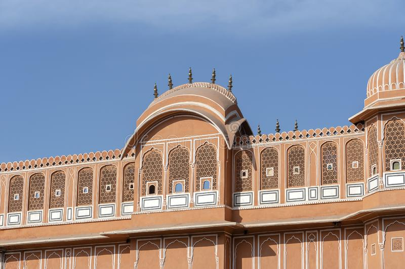 Hawa Mahal, pink palace of winds in old city Jaipur, Rajasthan, India. Background of indian architecture, close up royalty free stock photos