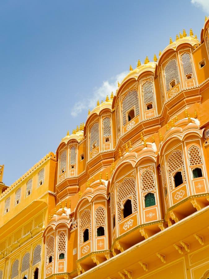 Hawa Mahal-voorgeveldetail royalty-vrije stock foto's