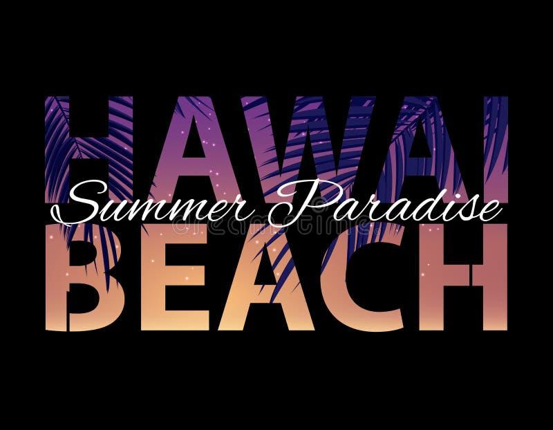 Hawai plaży lata raju Abstrakcjonistyczny Palmowy tło r?wnie? zwr?ci? corel ilustracji wektora ilustracji